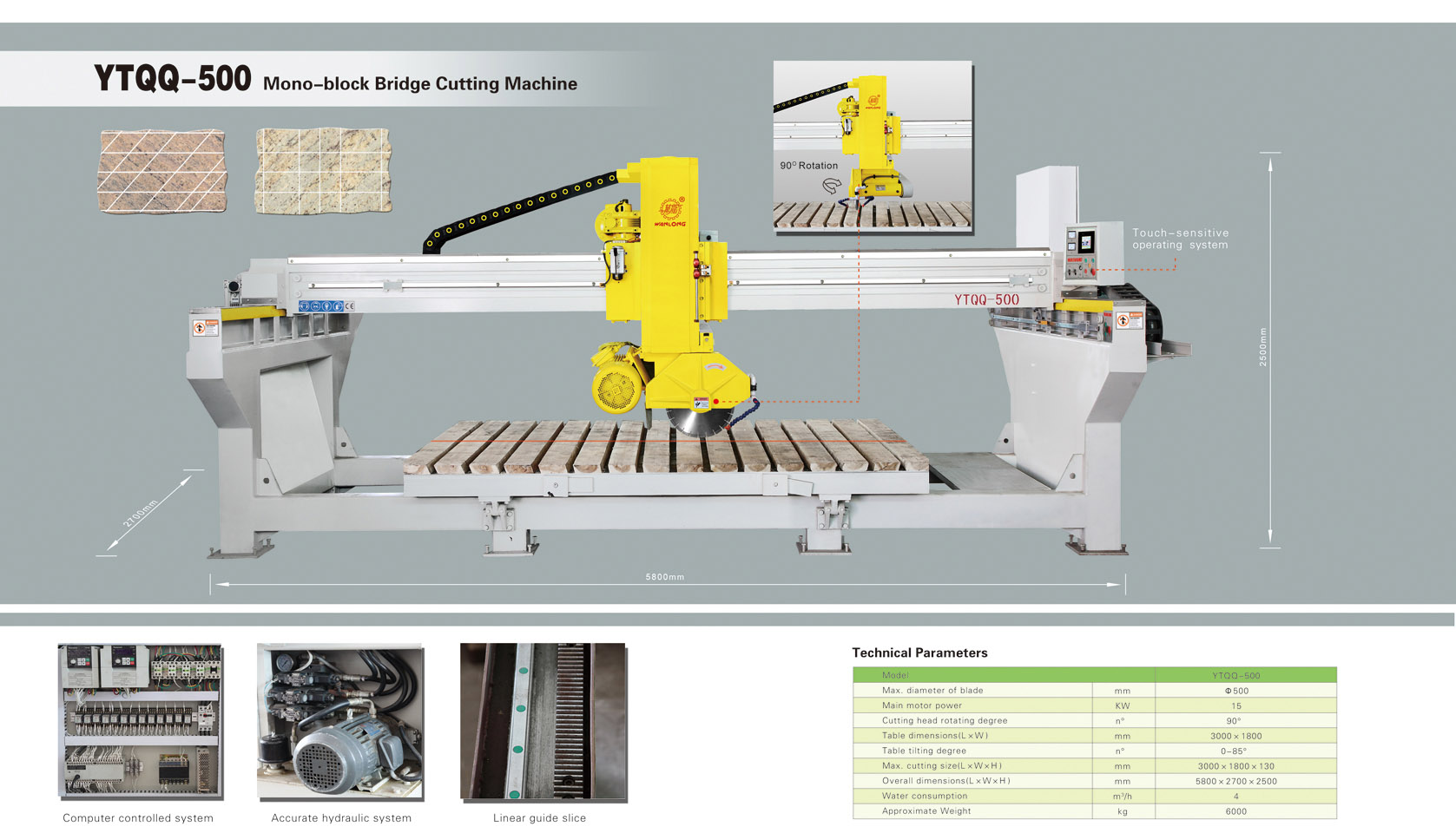 YTQQ-500Mono-block Bridge Cutting Machine,bridge cutting machine,bridge cutting machinery,bridge cutter,stone cutting machinery,wanlong stone cutting machine